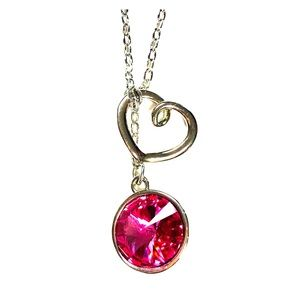 Pink Swarovski Crystal and Heart Lariat Necklace